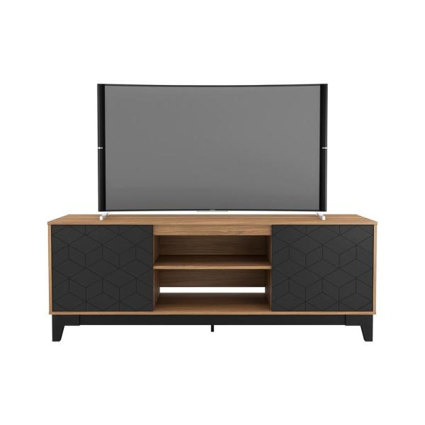 Hexagon 71 in. Nutmeg and Matte Black Engineered Wood TV Stand Fits TVs Up to 80 in. with Storage Doors