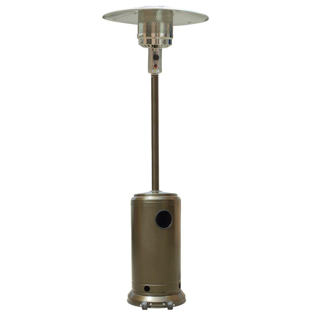 41 000 Btu Stainless Steel And Gold Hammered Propane Gas Patio Heater