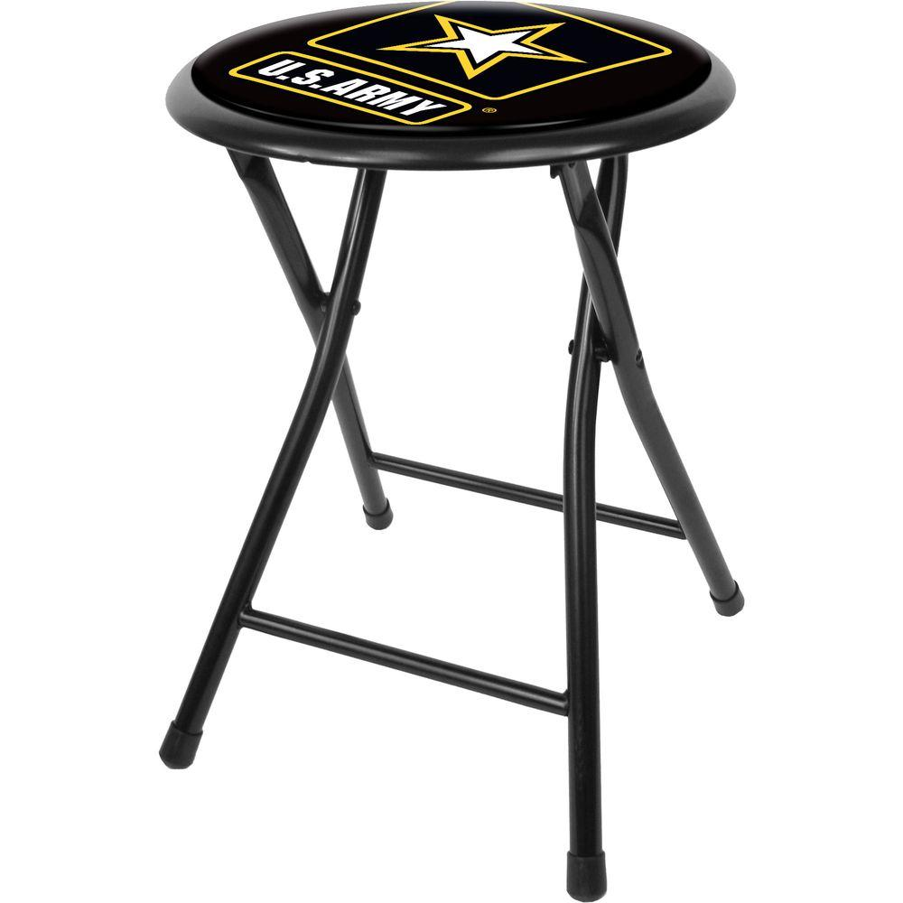 Excellent Trademark U S Army 18 In Black Cushioned Folding Bar Stool Caraccident5 Cool Chair Designs And Ideas Caraccident5Info
