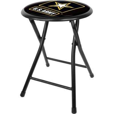 U.S. Army 18 in. Black Cushioned Folding Bar Stool