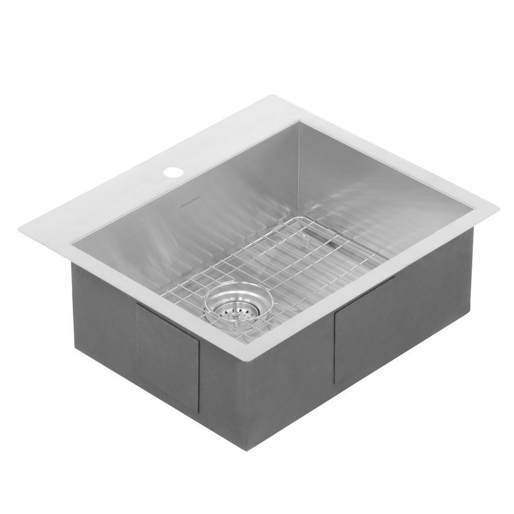 Edgewater Zero Radius Dual Mount Stainless Steel 25 in. 1-Hole Single Bowl Kitchen Sink Kit