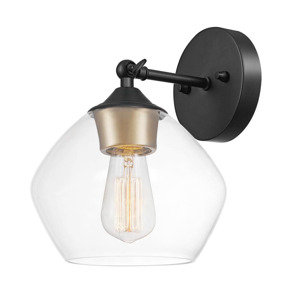 Globe Electric Harrow 1 Light Matte Black Wall Sconce With Clear Gl Shade