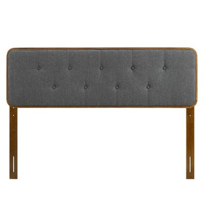 Collins Tufted in Walnut Charcoal King Fabric and Wood Headboard
