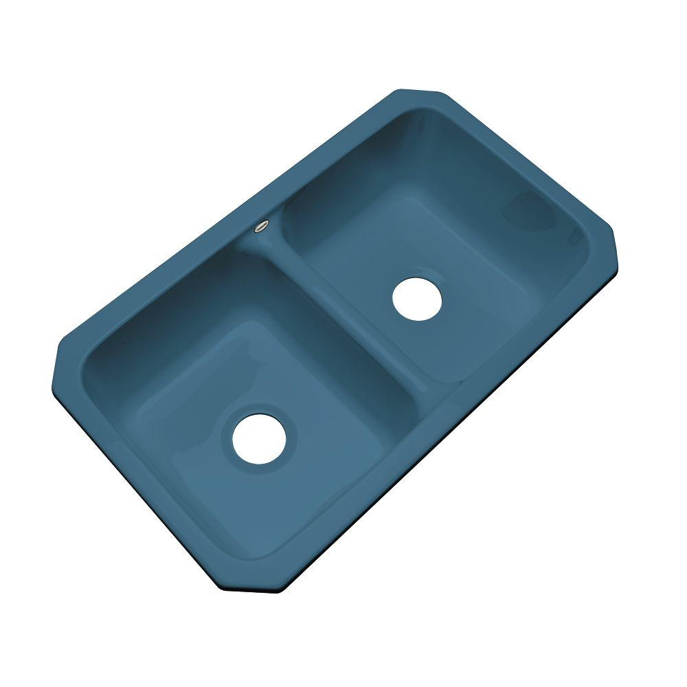 Thermocast Newport Undermount Acrylic 33x19.5x9 in. 0-Hole Double Basin Kitchen Sink in Rhapsody Blue
