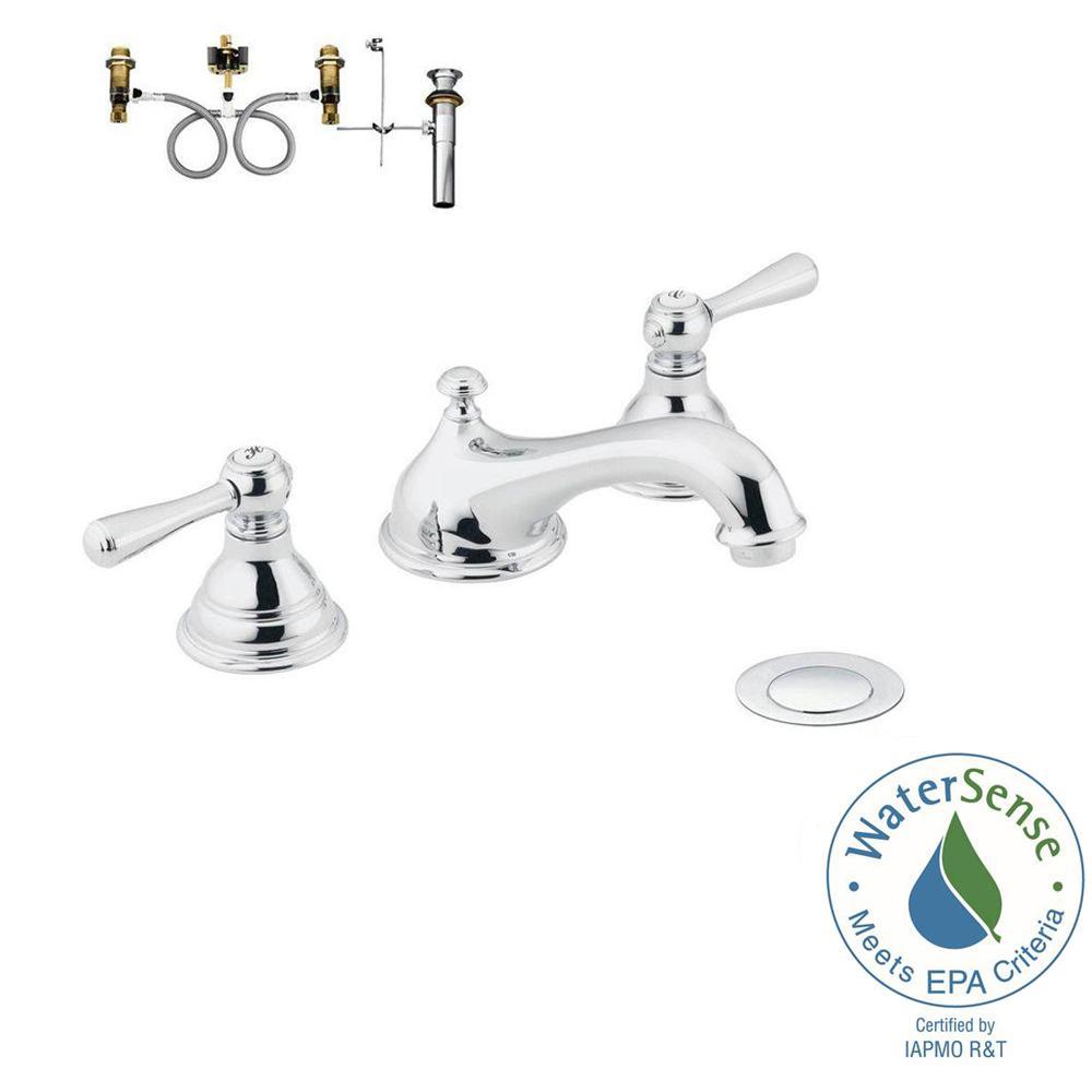 MOEN Kingsley 8 in. Widespread 2-Handle Low-Arc Bathroom Faucet Trim ...