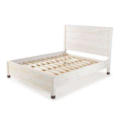 Baja Shabby White, Full Size, Panel Headboard, Platform Bed