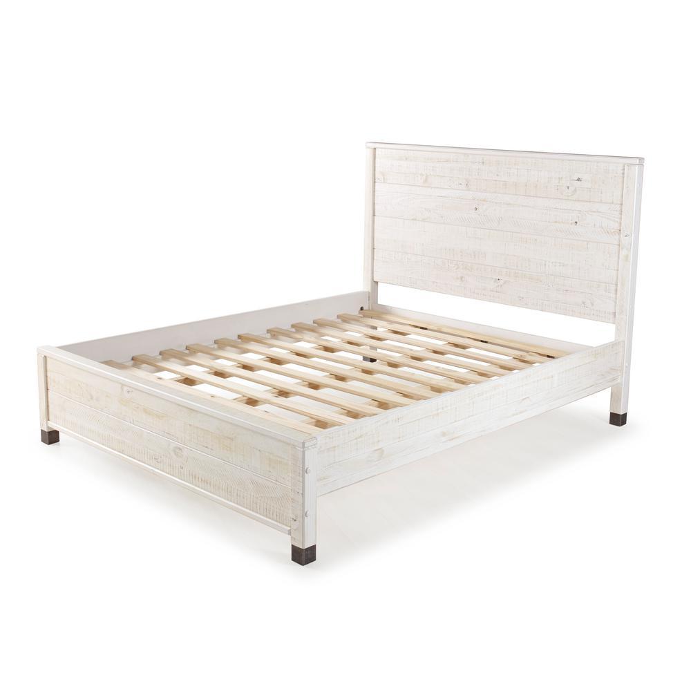 Baja Shabby White King Platform Bed