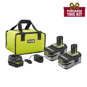 Deals on 2-Pk RYOBI 18-V ONE+ Lithium-Ion Battery Pack 4.0 Ah + 3.0Ah + Bag