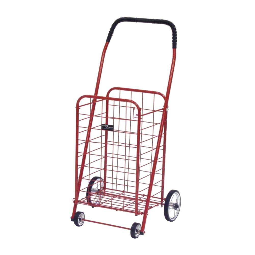 Easy Wheels Mini Shopping Cart in Red The Easy Wheels Mini Shopping Cart has been the industry's premier cart with industrial strength for home use. When lying down, with the cart folded, the highest measurement is the wheels with a 5.75 in. Dia giving an incredible amount of convenience in a compact size. This particular model comes with genuine chrome-spoked wheels.
