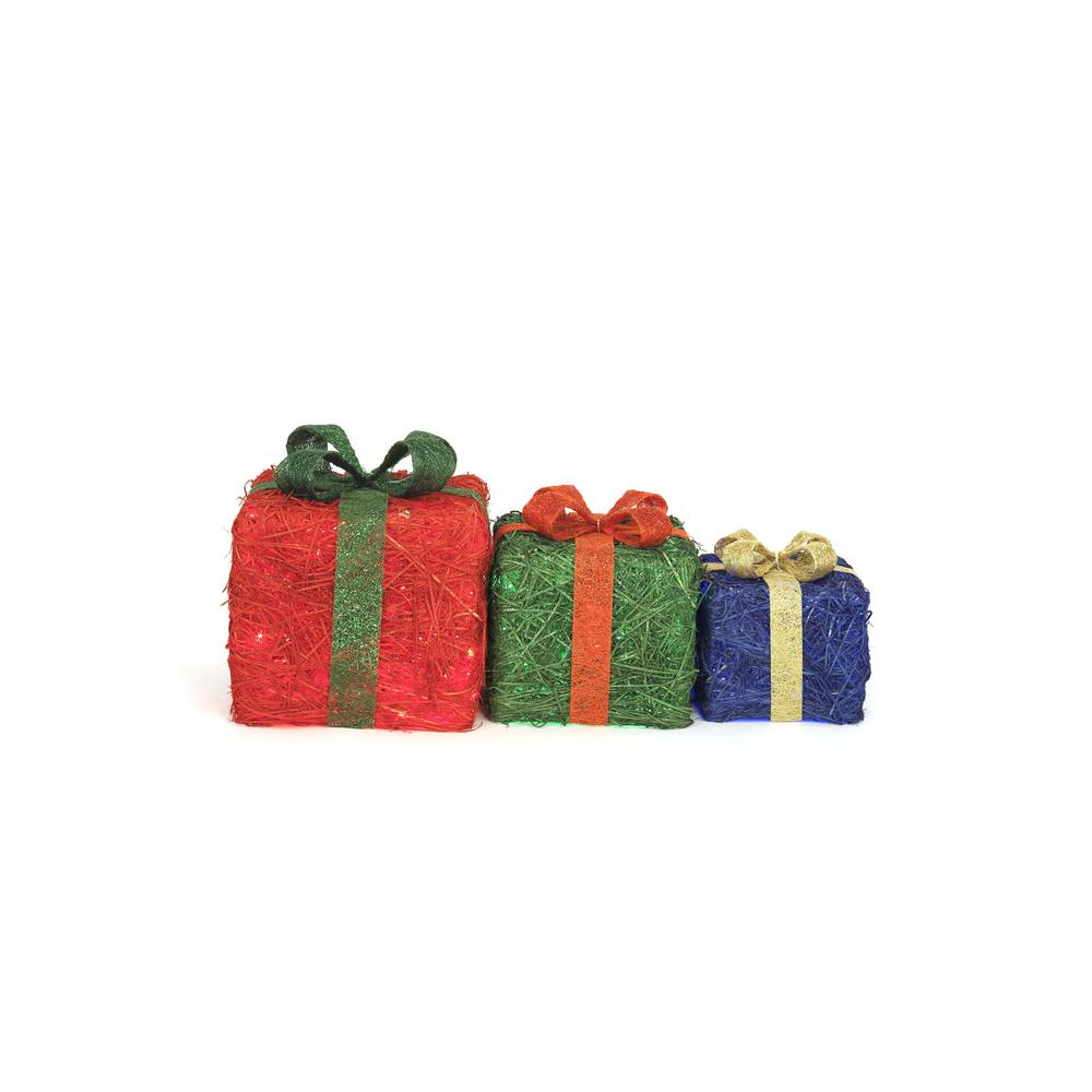 home accents holiday led lighted sisal gift boxes set of 3