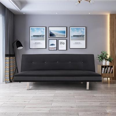 33 in. Black Polyester 4-Seater Full Sleeper Armless Sofa Bed with Tapered Legs