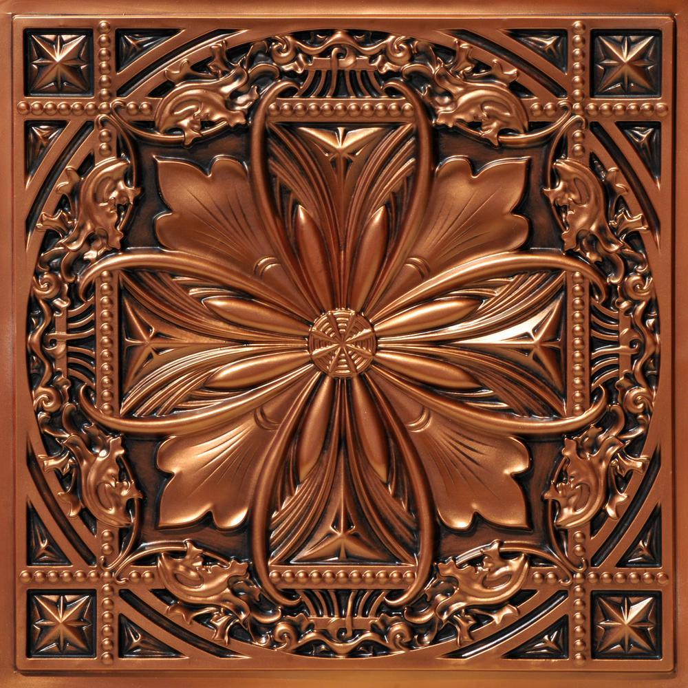 Milan 2 ft. x 2 ft. Glue Up PVC Ceiling Tile in Aged Copper (100 sq. ft./case)