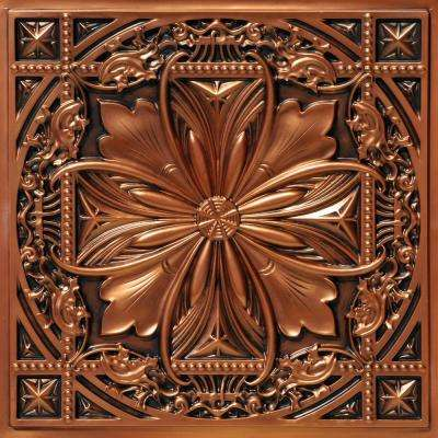 Milan 2 ft. x 2 ft. PVC Glue-up or Lay-in Ceiling Tile in Aged Copper