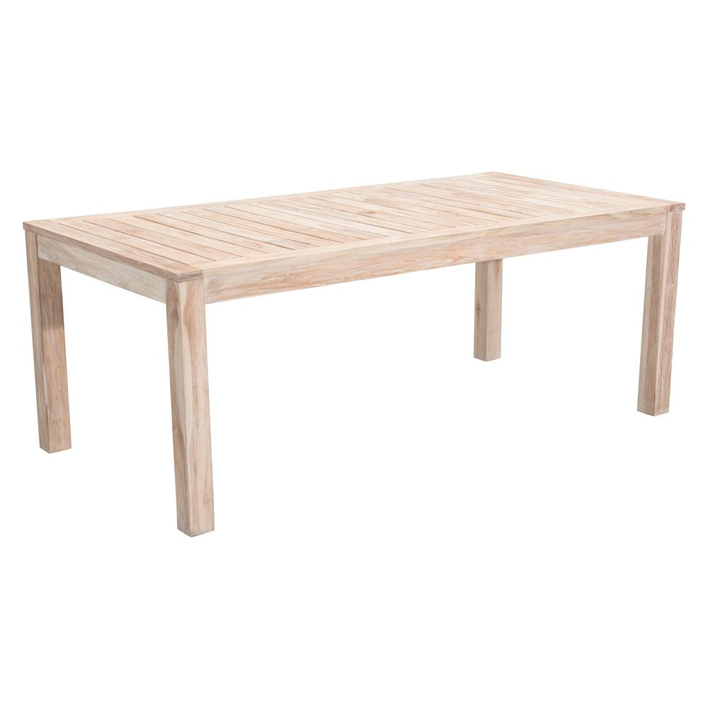 Zuo Port Wood Outdoor Dining Table White Wash