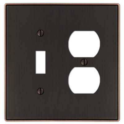 Ansley 2 Gang 1-Toggle and 1-Duplex Metal Wall Plate - Aged Bronze