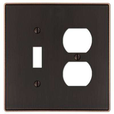 Ansley Cast 1-Toggle and 1-Duplex Wall Plate, Aged Bronze