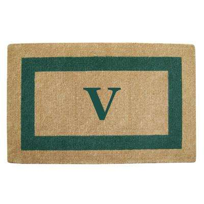 Single Picture Frame Green 30 in. x 48 in. Heavy Duty Coir Monogrammed V Door Mat