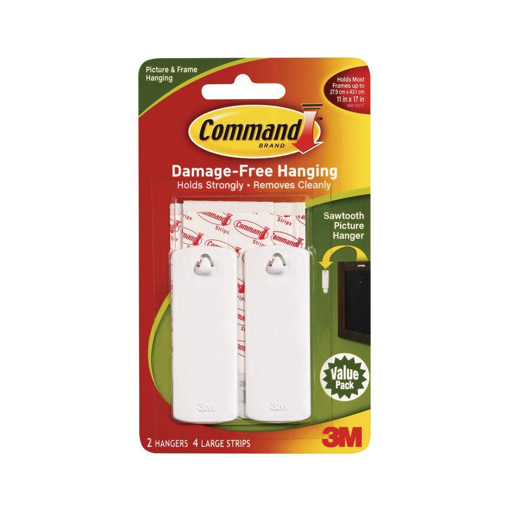 Command Sawtooth Picture Hanger Value Pack (2 Hooks, 4 Strips)-17040 ...