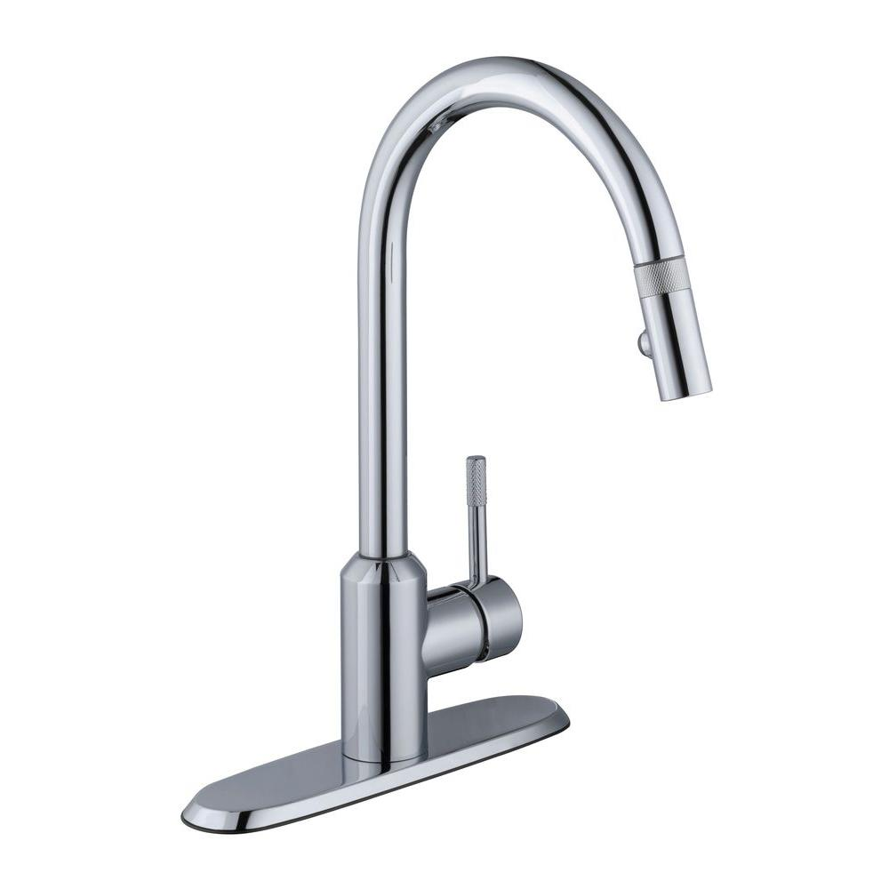 Axel Single-Handle Pull-Down Sprayer Kitchen Faucet in Chrome