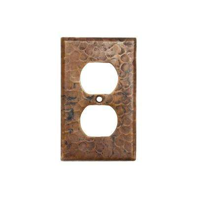 1 Gang Hammered Copper Single Duplex Outlet Wall Plate, Oil Rubbed Bronze (Quantity 2)
