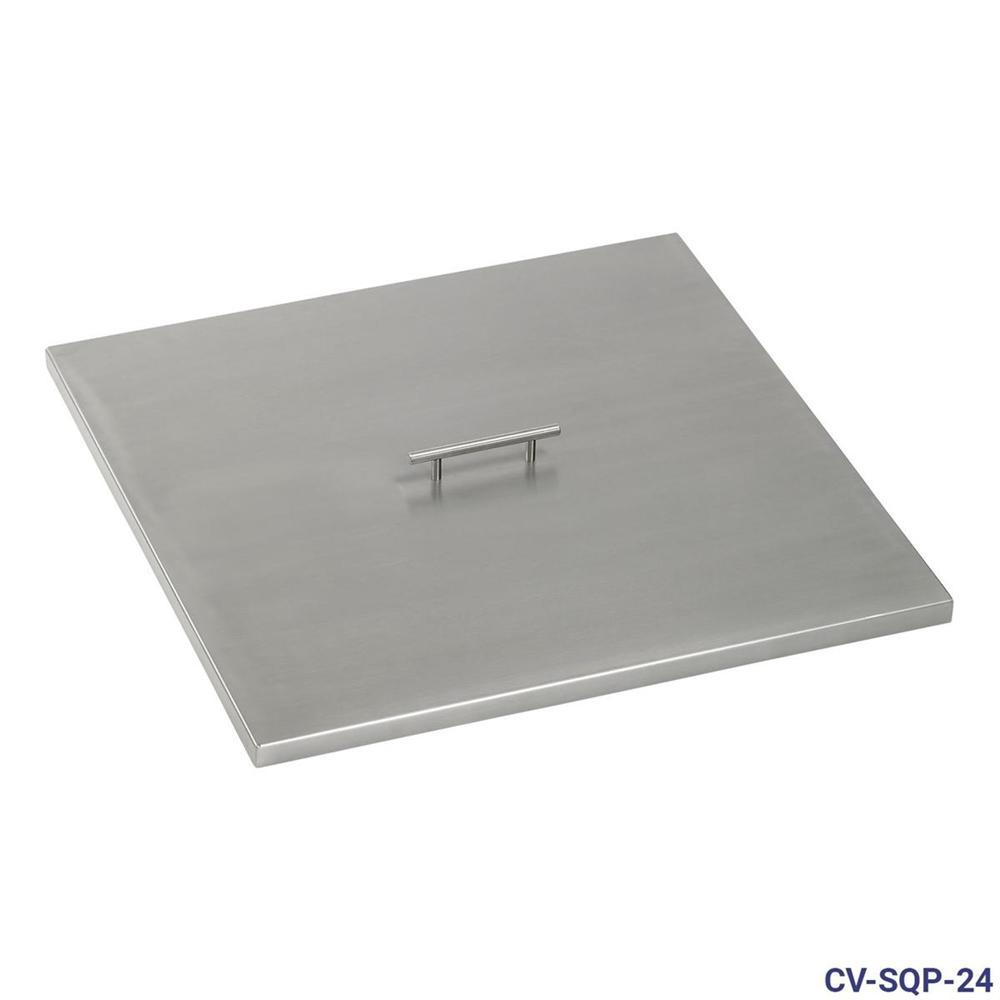 24 in. Stainless Steel Cover Square Drop-In Fire Pit Pan