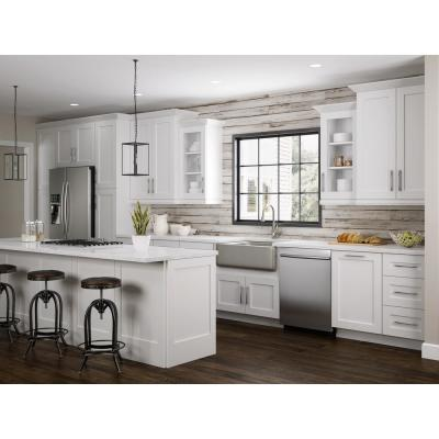 Newport Assembled 18x96x24 in Plywood Shaker Utility Kitchen Cabinet Soft Close Right in Painted Pacific White