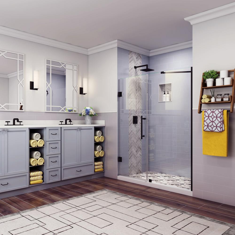 Belmore 73.25 in. to 74.25 in. x 72 in. Frameless Hinged Shower Door in Matte Black