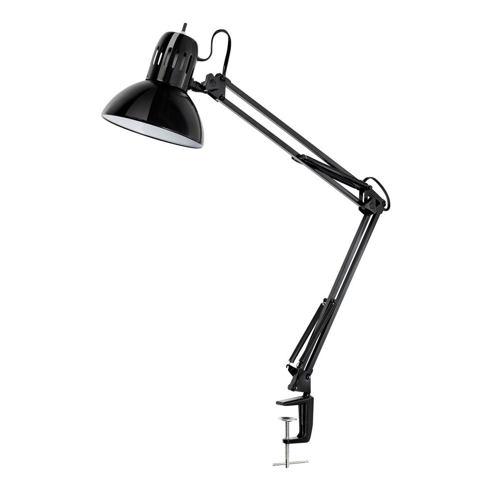 32 In. Multi Joint Metal Clamp Black Desk Lamp