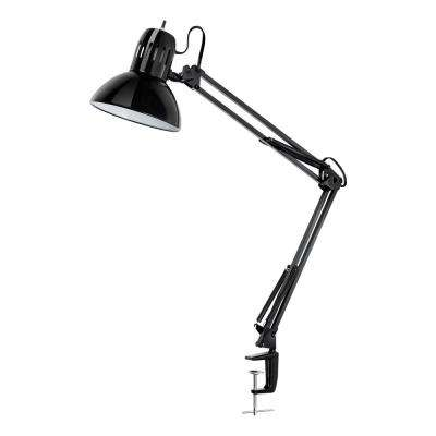 32 in. Multi-Joint Metal Clamp Black Desk Lamp