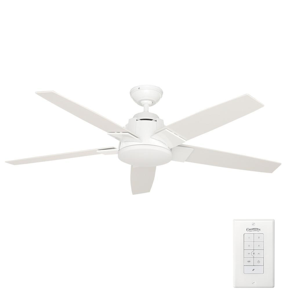 Casablanca zudio 56 in indoor brushed nickel ceiling fan with indoor snow white ceiling fan with universal wall control mozeypictures Image collections