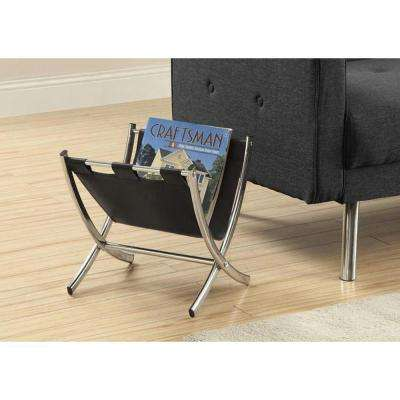 Leather-Look/Chrome Metal Magazine Rack in Black