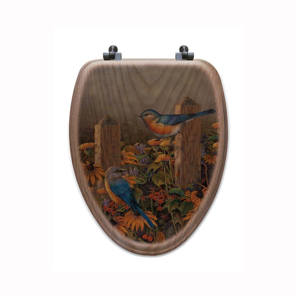 Linda's Bluebirds Elongated Closed Front Wood Toilet Seat in Oak Brown