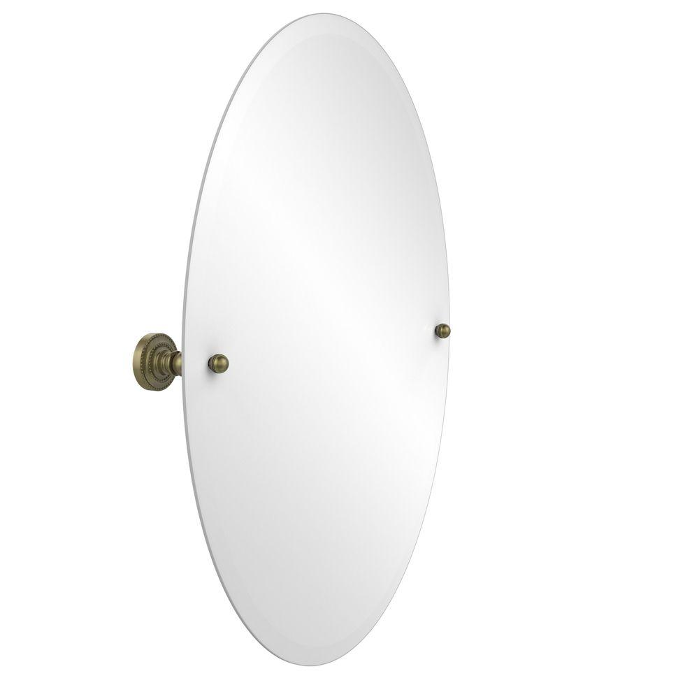 Dottingham Collection 21 in. x 29 in. Frameless Oval Tilt Mirror