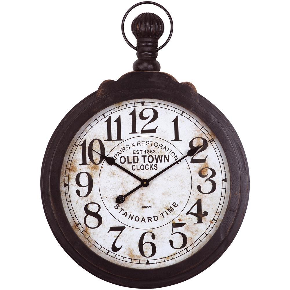 33 in. x 24 in. Circular Iron Wall Clock in Dark