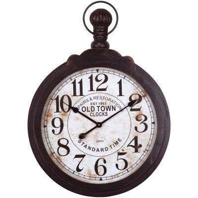 33 in. x 24 in. Circular Iron Wall Clock in Dark Brown