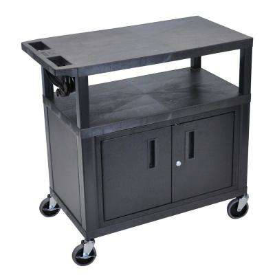EA 32 in. Utility Cart with Cabinet and 3-Shelves in Black