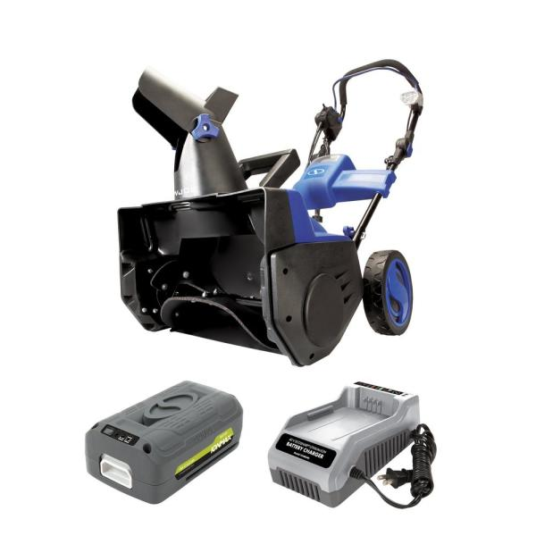 18 in. 40-Volt Single-Stage Hybrid Cordless Electric Snow Blower Kit with 4.0 Ah Battery + Charger