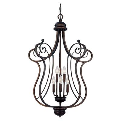 6-Light Rubbed Bronze Chandelier with Turinian Scavo Glass