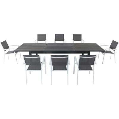 Dawson 9-Piece Aluminum Outdoor Dining Set with 8-Sling Chairs in Gray/White and an Expandable 40 in. x 118 in. Table
