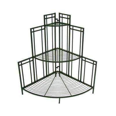 Mission Pro 34.5 in. x 35 in. Black Steel Corner Plant Stand