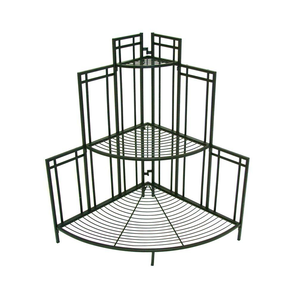 Patio life mission pro 34 5 in x 35 in black steel corner plant stand 81017 the home depot - Steel pot plant stands ...