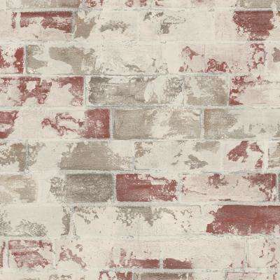 Red, Beige and Brown Faux Brick Wallpaper