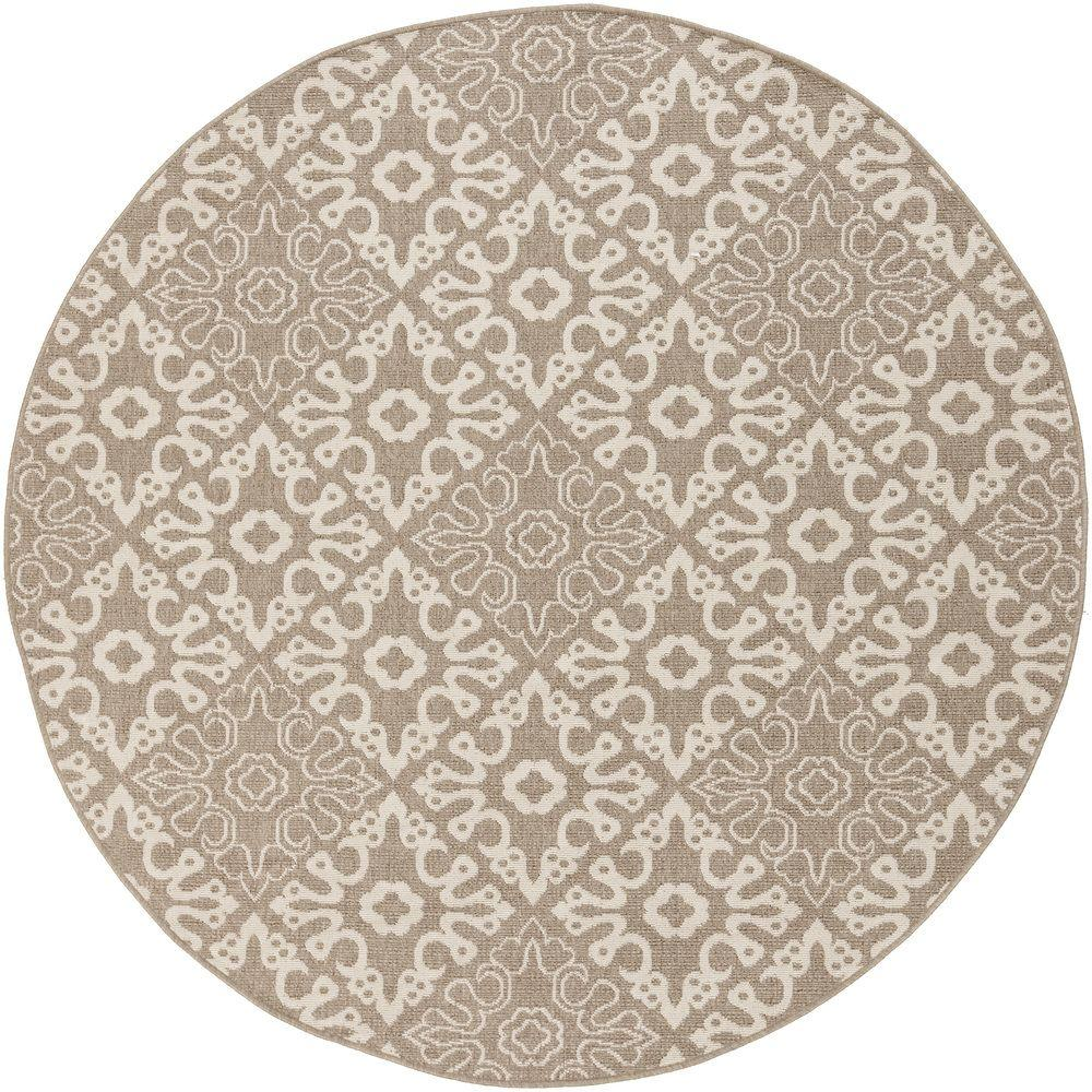 Booroomba Taupe 5 ft. x 5 ft. Round Indoor/Outdoor Area Rug