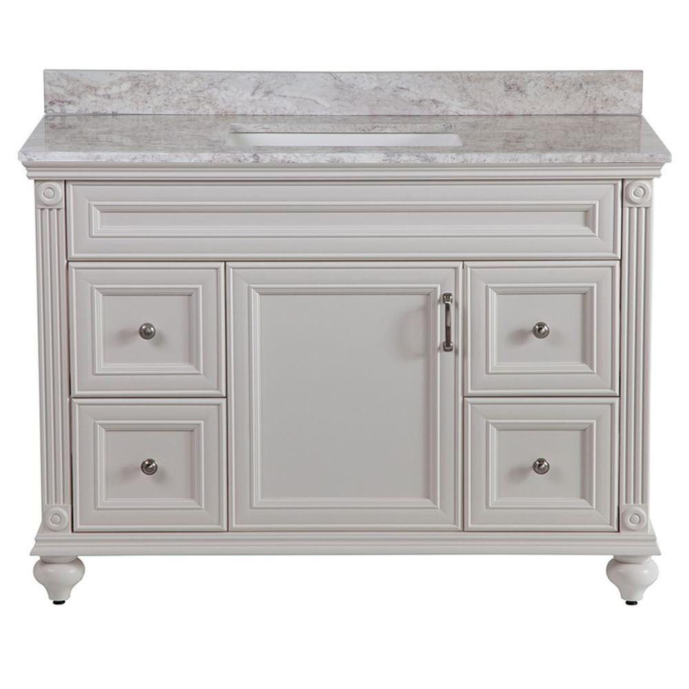 Home Decorators Collection Annakin 49 in. W x 38 in. H x 22 in. D Bath Vanity in Cream with Stone Effect Vanity Top in Winter Mist
