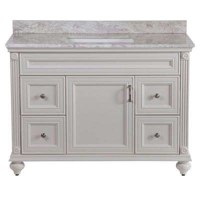 Annakin 49 in. W x 38 in. H x 22 in. D Bath Vanity in Cream with Stone Effect Vanity Top in Winter Mist