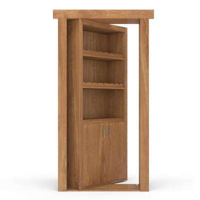 36 in. x 80 in. Flush Mount Assembled Hickory Natural Stained Right-Hand Outswing Wine Rack Door