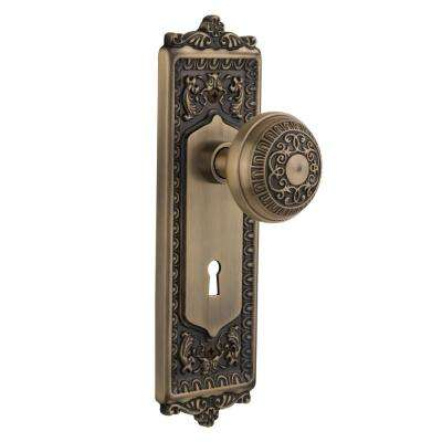 Egg and Dart Plate Interior Mortise Egg and Dart Door Knob in Antique Brass