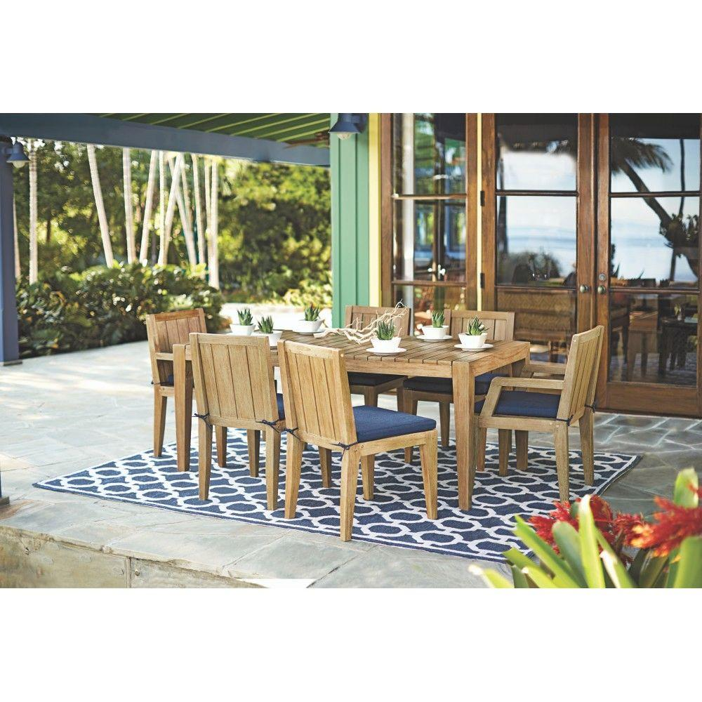 Home Decorators Collection Bermuda 7 Piece All Weather Eucalyptus Wood Patio Dining Set With Indigo Fabric Cushions 7633710360 The Depot