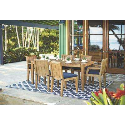 Bermuda 7-Piece All Weather Eucalyptus Wood Patio Dining Set with Indigo Fabric Cushions