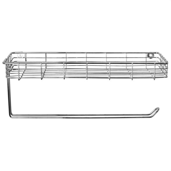 Chrome Plated Steel Wall Mount Paper Towel Holder with Basket
